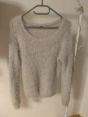 H&M Polarowy sweter biały-jasnoszary