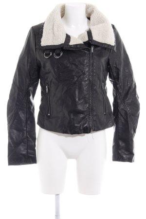 H&M Chaqueta de aviador negro-beige claro estilo clásico