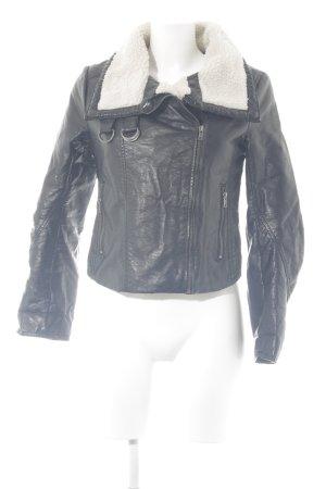 H&M Chaqueta de aviador negro-blanco puro look casual