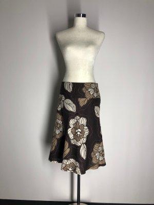 H&M floraler Leinenrock, beige/braun