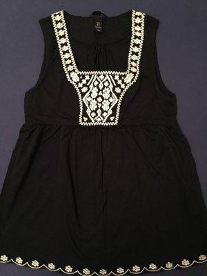 H&M Folklore Top-Tunika, Gr. S, schwarz