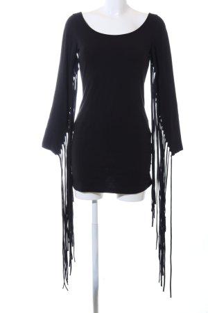 H&M Jurk met franjes zwart casual uitstraling