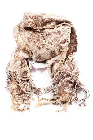 H&M Bufanda de flecos blanco puro-marrón estampado con diseño abstracto