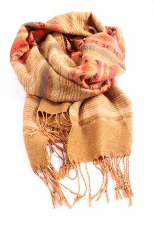 H&M Fransenschal braun-rot grafisches Muster Casual-Look