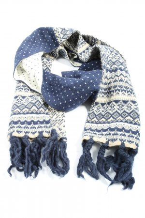 H&M Fringed Scarf blue-natural white allover print casual look