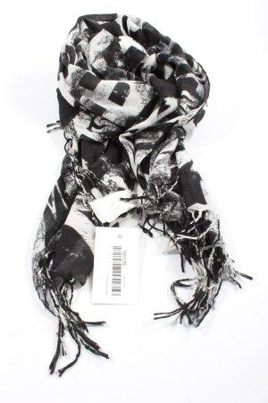 H&M Bufanda de flecos negro-blanco estampado con diseño abstracto look casual