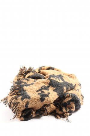 H&M Fringed Scarf black-brown graphic pattern casual look