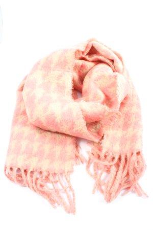 H&M Bufanda de flecos rosa-crema estampado con diseño abstracto look casual