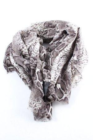 H&M Bufanda de flecos gris claro-blanco estampado de animales look casual