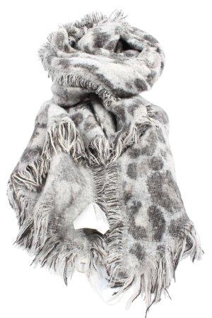 H&M Bufanda de flecos gris claro estampado repetido sobre toda la superficie