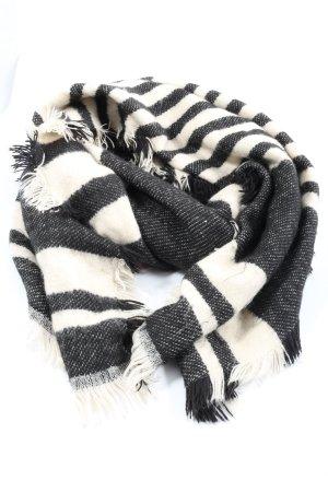 H&M Bufanda de flecos negro-blanco estampado repetido sobre toda la superficie