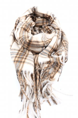 H&M Fringed Scarf brown-white allover print casual look