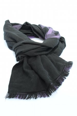 H&M Fringed Scarf black-lilac check pattern casual look