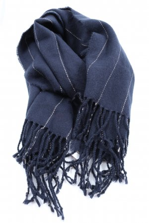 H&M Fringed Scarf blue striped pattern casual look