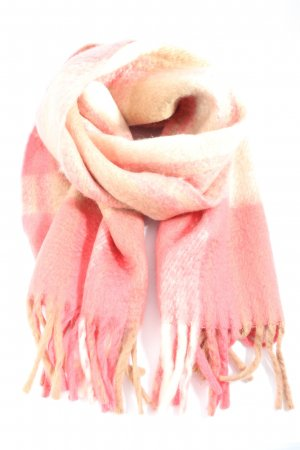 H&M Fringed Scarf pink-cream check pattern casual look