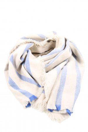 H&M Fringed Scarf natural white-blue striped pattern casual look