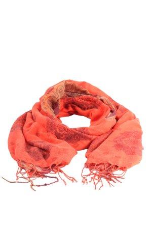 H&M Bufanda de flecos rojo-marrón estampado repetido sobre toda la superficie