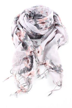 H&M Fransenschal hellgrau-pink Allover-Druck Casual-Look