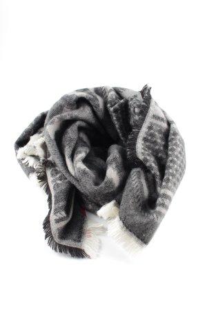 H&M Sjaal met franjes lichtgrijs-wit grafisch patroon casual uitstraling
