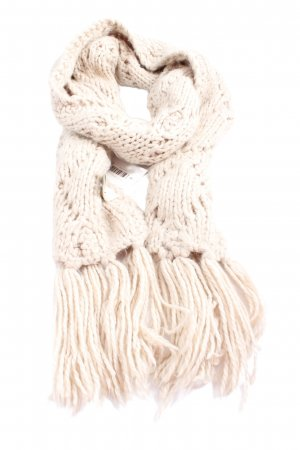 H&M Fringed Scarf natural white cable stitch elegant