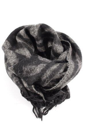 H&M Fransenschal hellgrau-schwarz grafisches Muster Casual-Look