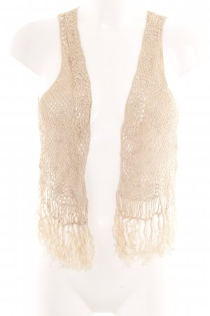 H&M Chaleco con flecos beige look casual