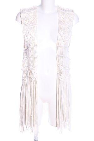 H&M Chaleco con flecos blanco puro look casual