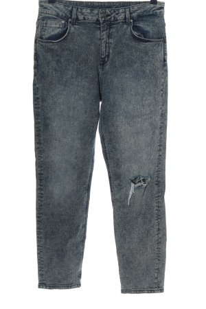 H&M Garden Collection Straight-Leg Jeans blau meliert Casual-Look