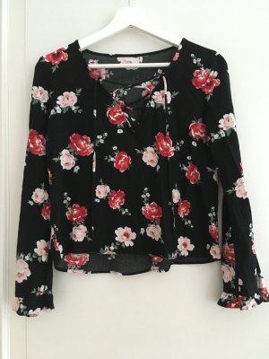 H&M Gemusterte Bluse Shirt Oberteil Top Schnüre Schnürung Schwarz Blumen Rosa Weiß XS 34 NEU