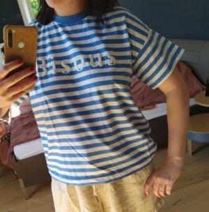 H&M gerades Shirt T-Shirt Streifen geringelt Bisous französisch Statement