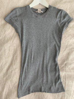 H&M Basic Prążkowana koszulka szary