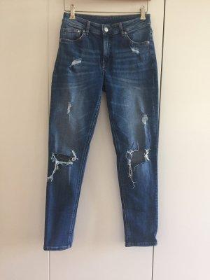 H&M Jeans boyfriend bleu acier