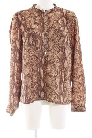 H&M Glanzende blouse bruin-room dierenprint casual uitstraling
