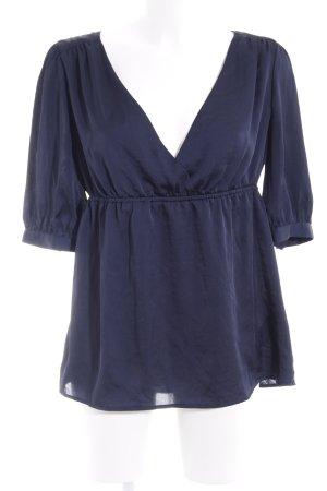 H&M Glanzbluse dunkelblau Elegant