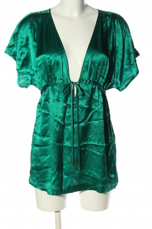 H&M Glanzende blouse groen casual uitstraling