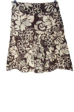 H&M Rozkloszowana spódnica brązowy-kremowy Wzór w kwiaty W stylu casual