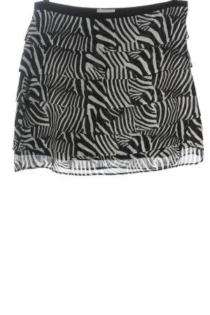 H&M Glockenrock weiß-schwarz Allover-Druck Elegant