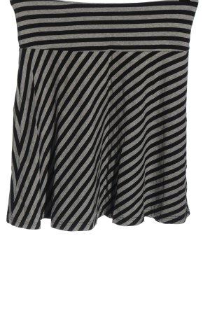 H&M Glockenrock hellgrau-schwarz Streifenmuster Elegant