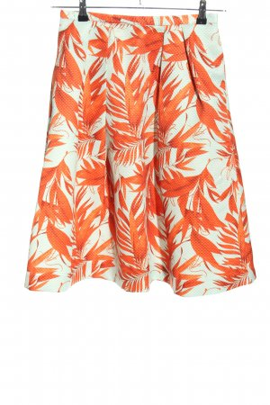 H&M Klokrok wit-licht Oranje bloemenprint casual uitstraling