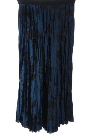 H&M Falda plisada azul-negro estampado repetido sobre toda la superficie