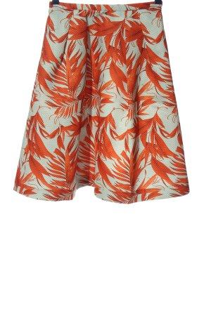 H&M Rozkloszowana spódnica jasny pomarańczowy-turkusowy Na całej powierzchni