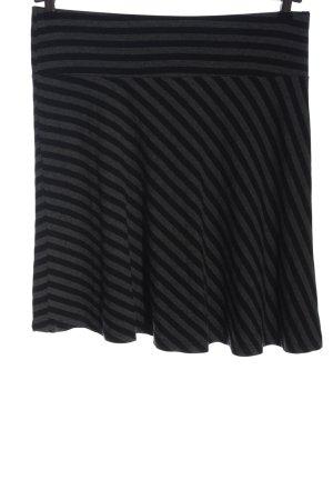 H&M Glockenrock hellgrau-schwarz Streifenmuster Casual-Look