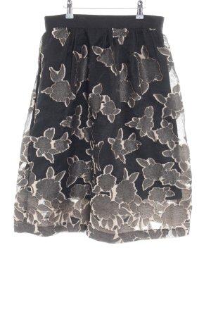 H&M Falda acampanada negro-color bronce estampado floral elegante