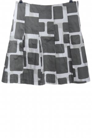H&M Flared Skirt black-light grey graphic pattern casual look
