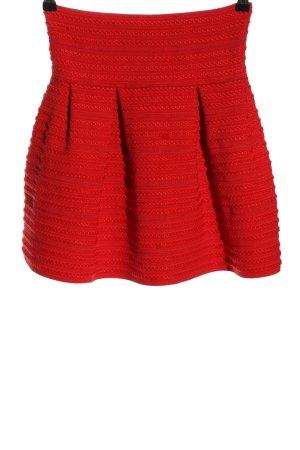 H&M Spódnica z godetami czerwony Siateczkowy wzór Elegancki