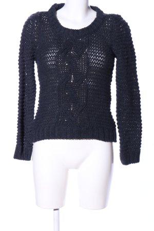 H&M Grobstrickpullover schwarz Zopfmuster Casual-Look