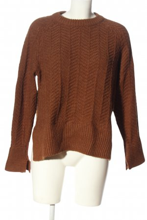 H&M Grobstrickpullover braun Zopfmuster Casual-Look