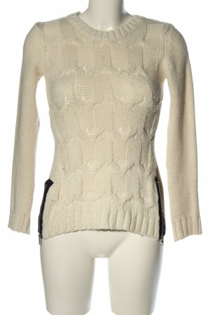 H&M Grobstrickpullover creme Zopfmuster Casual-Look