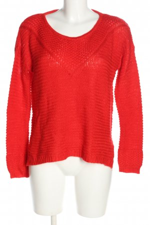 H&M Coarse Knitted Sweater red striped pattern casual look