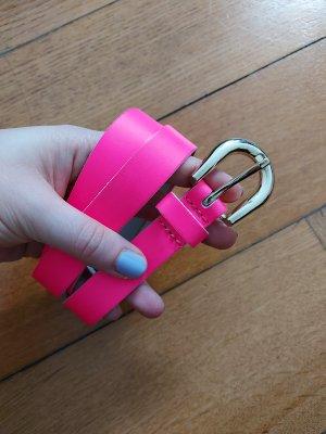 H&M Gürtel Neon-Pink Gold Größe M ca. 108cm lang Echtleder?
